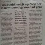 Science newspaper article