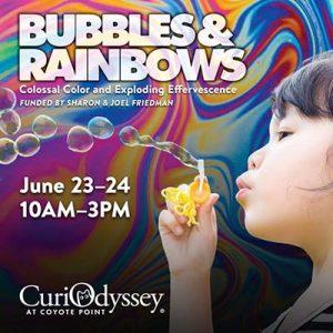 Child blows bubbles through wand
