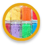 Glass jars filled with colored powders