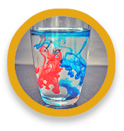 Glass of water containing swirls of colored fluid