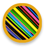 Diagonal lines of different colors and widths.