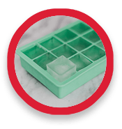 Ice cube maker tray containing one ice cube
