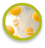 Egg white and yolks in glass bowls.