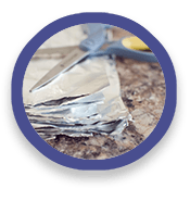 Folded aluminum foil