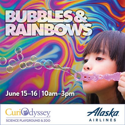 Child blows soap bubbles. June 15-16, 10am-3pm. Logo for Alaska Airlines