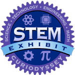 Circle badge with words science, technology, engineering, math. STEM exhibit CuriOdyssey.