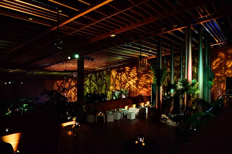 Large room with lighted decorations.