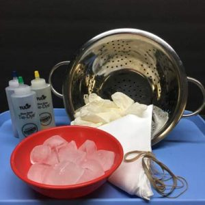 Colander, bowl of ice cubes, rubber bands, fabric, gloves, Tulip one step tie-dye bottles