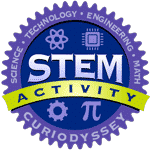 Circle badge with words science, technology, engineering, math. STEM activity CuriOdyssey.