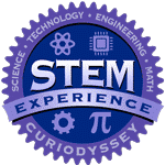 Circle badge with words science, technology, engineering, math. STEM experience CuriOdyssey.
