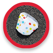 Flattened paper cup
