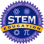 Circle badge with words science, technology, engineering, math. STEM education CuriOdyssey.
